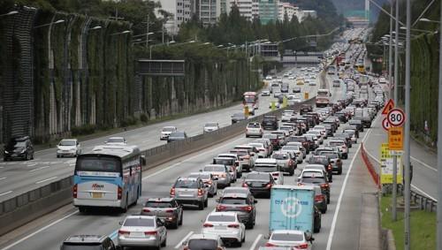 韩国秋夕节的高速公路